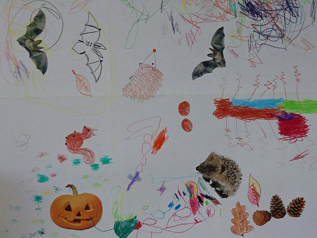 KITA Stärnschnuppe Basteln und Malen: Halloween-Herbstbild