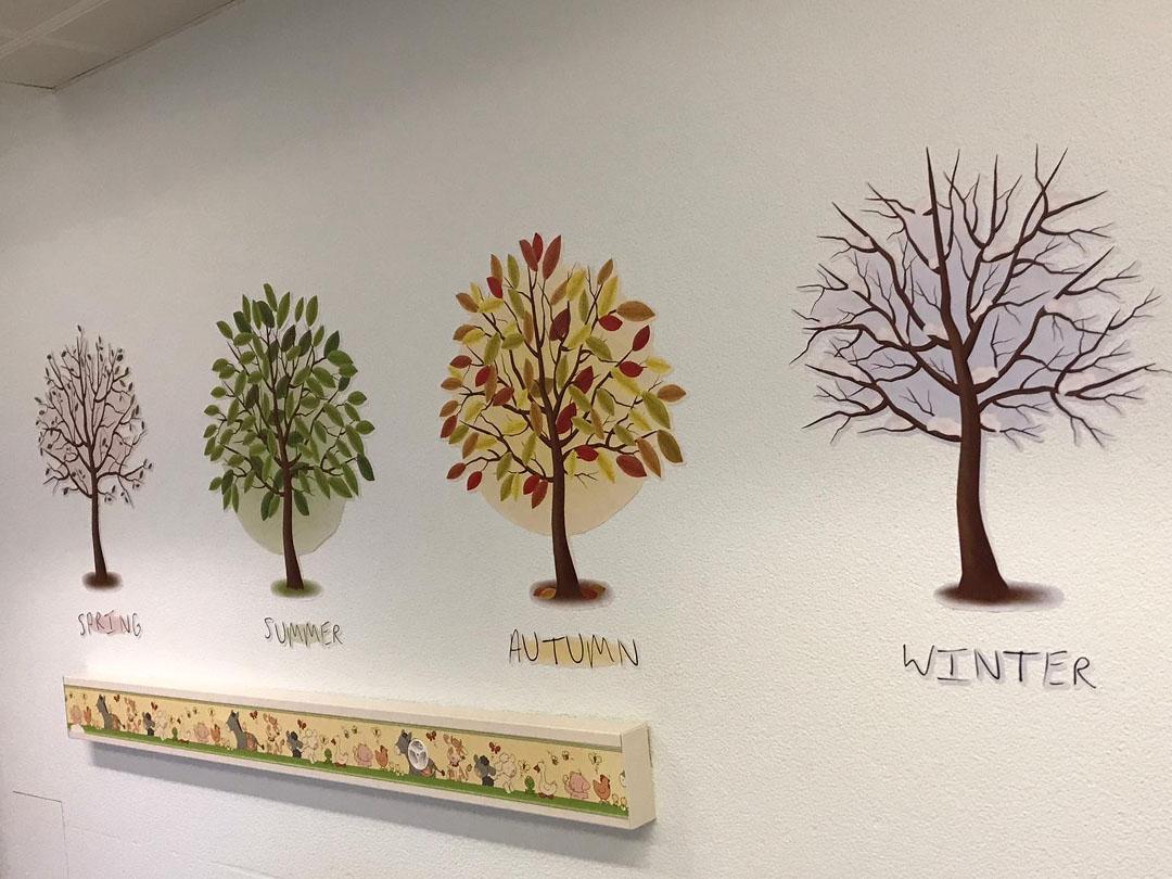 KITA Stärnschnuppe Babygruppe: Wandbilder mit den vier Jahreszeiten