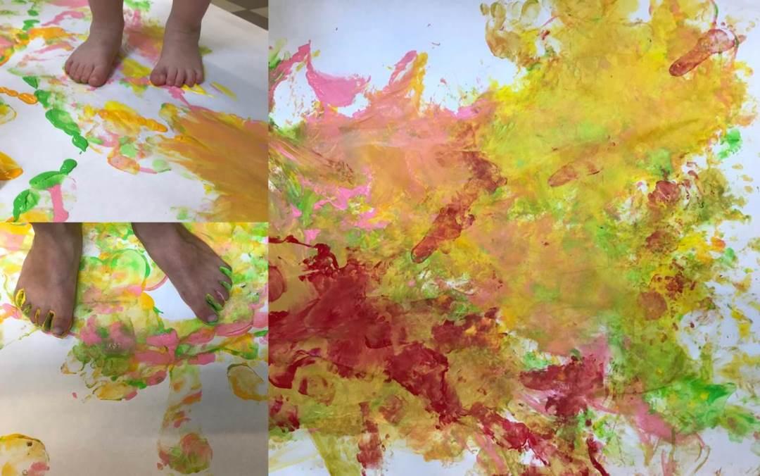 Kinderkrippe Staernschnuppe: Mit dem Einsatz von unseren Händen und Füssen ist ein leuchtendes Sommerbild entstanden